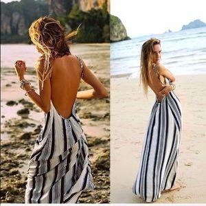 Flynn Skye Nautical Striped Low Back Maxi Dress